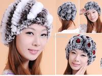 Women's winter warm genuine rabbit fur beanies hat floral hats caps M002