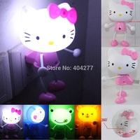 Cute Hello Kitty Rilakkuma Relax Bear Doraemon Frog LED Light Sensor Operated Control Bedroom Bedside Night Light Lamp Lights