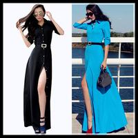 2015 new spring maxi dress long sleeve full dress women slim floor length casual dress vestidos plus size solid blue black color