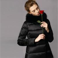 Winter Duck Down Jacket Women Slim Thick White Duck Down Womens Parka Jackets Plus Size Ladies Coats 2015 New Black Fur Collar