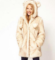 Free Shipping Double cap dribbled two-color wool beige long design coat design fur long overcoat