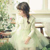 2014 Spring new Korean children princess dress Girls long sleeve cotton Layered Party Dress