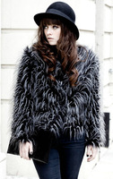 Free Shipping Luxurious faux female outerwear elegant fur overcoat