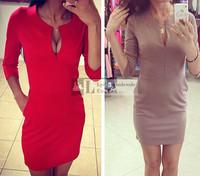 Hot!!!2015 fashion Spring winter casual dress women vestidos de fiesta  pencil dress red clothing fashion sexy tight women dress