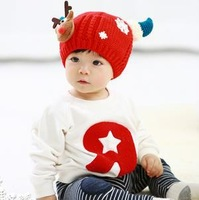 Lovely Christmas  Baby Hats Winter Hats  Kids Boy Girl Crochet Beanie Wool Hats Winter Cap For Children To Keep Warm A113