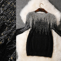 2015 Spring High Quality Charming Long Sleeves Graident Color Mohair Sweater Designer Wool Pullover