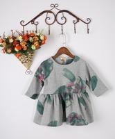 Retail 2015 spring and summer little girl dress three quarter  floral children clothing flower Casual girls dresses