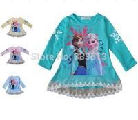 Retial New Cartoon Frozen Lace t Shirts Masha and bear Shirt Long Sleeve Boy Girls Peppa Pig Clothes Kids clothing Free Shipping