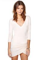 Solid color Cross tulip hem V-neck fold Slim waist elastic sleeve dress
