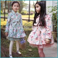 Autumn outfit girls coat broken flower children cotton printing jacket children's wear coat
