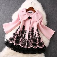 2014 High quality Fashion Disk flowers wool coat jacket winter coat women coat