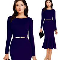 2014 Hot Selling New Fashion Autumn Winter Women Elegant Belt Slim Long Sleeve Celebrity Bodycon Pencil Party Evening Dresses