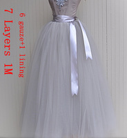 7 layer 1M long design tulle skirts princess ball gown skirts dance bust skirt maxi long full fairy gauze skirt