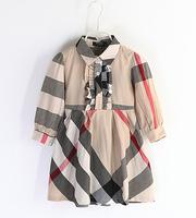 New 2015 Spring Three Quarter Brand Plaid Dress 2-6Yrs Baby Girls Party Dress Vestidos Children Kids Casual Dress 954
