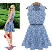 2015 Summer Women Fashion Women Lady Lapel Sleeveless Casual Slim Denim Dress Print casual blue artka vestidos