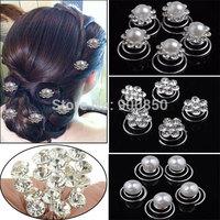 12Pcs/lot Wedding Bridal Crystal Pearl Flower Hair Pins Hairstick For Women Crystal Hairpin Rhinestone Hair Accessory