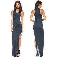 Sexy high-slit V-neck wrap asymmetrical design folds Slim dress