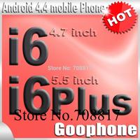 DHL free shipping Goophone i6 phone MTK6582 4.7 inch i6 plus phone 5.5inch Metal quad core IPS 2GB RAM HD Android 4.4 3G WCDMA
