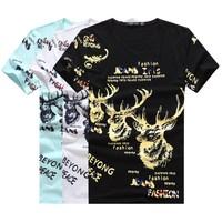 New sumemr men Deer pattern short sleeve tshirt/muscle O-neck letter&animal moisture-wicking t shirt hip hop camisa masculina