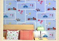 New style high quality environmental healthy non-woven children's room bedroom cartoon boy child car wallpaper