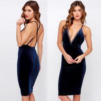 spring and summer sexy lace cross straps velvet V-neck dress zipper dress