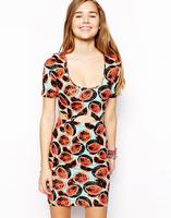 Watermelon pattern printing design waist down detachable hollow Short Sleeve Dress
