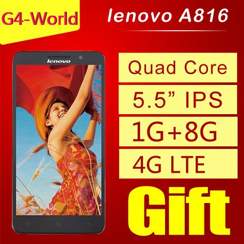 Original lenovo A816 4G FDD LTE cell phones 5 5 inch IPS Qualcomm Quad Core 1GB