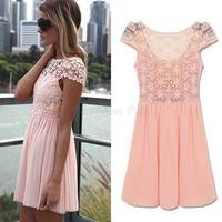 New Eve Dresses Women Clothing 2015 Runway Crochet Lace Embroidery Chiffon Casual Dress Elegant Pleated Vestido De Renda 6036