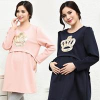 Plus Size Casual Loose Crown Appliques Dress For Pregnant Fat woman O- Neck Vestidos  M-XL SJY735
