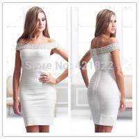 2015 new arrival high quality white slash nech crystal bandage Celebrity dress Party Evening Dresses HL