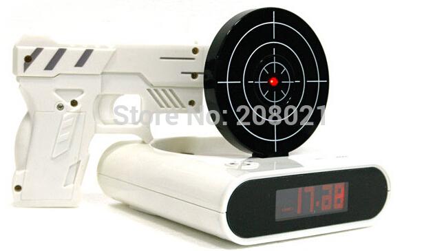 free shipping infrared battery powered gun alarm clock shoot alarm clock gun o clock lock. Black Bedroom Furniture Sets. Home Design Ideas