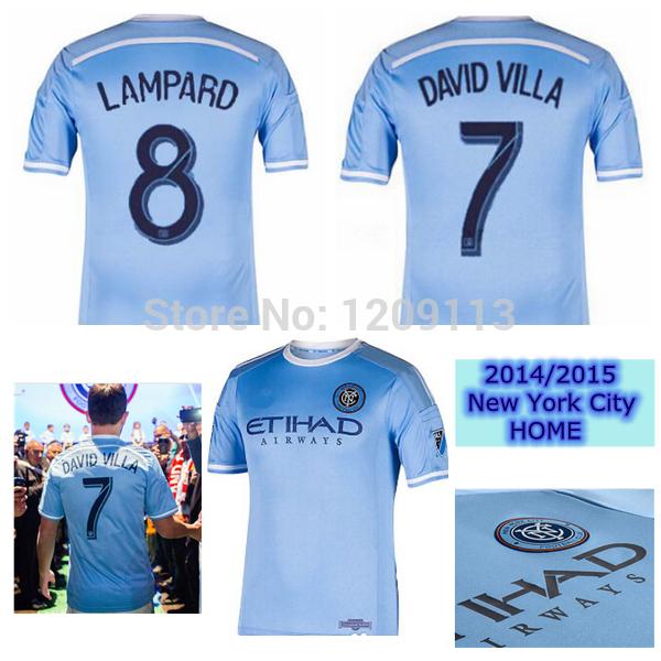 2015 New York city home Jersey Thai quality sky blue 14 15 shirts NYCFC DAVID VILLA LAMPARD custom soccer uniforms(China (Mainland))