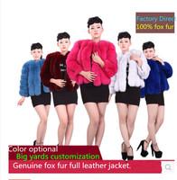 2014 designed luxury female fox coat big yards short paragraph customized  winter fashion fox coat intact skin free shipping