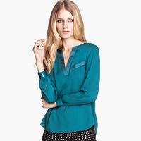 Spring Satin Blouse V-neck long-sleeve shirt chiffon female XS-2XL Summer