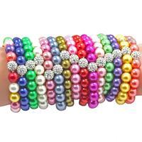 2015 Hot sell ! Handmade Jewelry Hot Neon Bracelet Beads Disco Pearl Shamballa Ball Stretch Bracelet