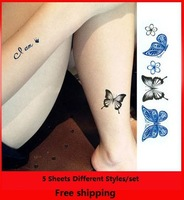5 Sheets/Set Two colors Sexy Temporary Tattoo Stickers Woman Waterproof
