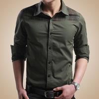 Men Shirt 2014 Brand High Quality Shirt Men Long Sleeve Casual Shirt Fashion Slim Fit Mens Shirts Plus Size Camisa Masculina