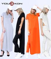 1579 YouAon Ladies Fashion Casual Cotton Blends Short Sleeve Side Split White Black Long Tee T shirt Dress for Women a+ Dresses