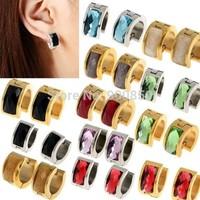 Punk Stainless Steel Zircon Earrings Hoop Ear Studs Men/Women Zircon 316L Stainless Steel Hoop Earrings Unisex Gold Silver
