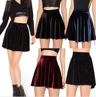 HOT SALE 2015 Women VELVET SKIRT saias SKATER SKIRT Pleated skirt High Waist Sexy saia Plus Size deep blue wine red black