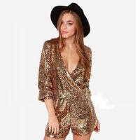 Shinny Gold Sequins Women Romper Deep V-neck Glitter Dance Short Playsuit Pants  XS-XXL
