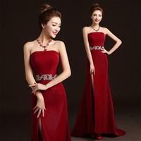 New Fashion Quality Bride Dress 2014 Red Tube Top Married Long Design Formal Dress Slim Strappless Formal Dress Wedding Dress