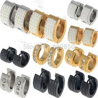 Men/Women Stainless Steel Pearl Crystal Hoop Earrings 316L Stainless Steel Hoop Earring Hook Huggie Unisex Gold/Silver/Black