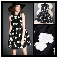 2015 autumn winter new arrival women's sleeveless  o-neck floral embroidery wollen one-piece dress free shipping 2656