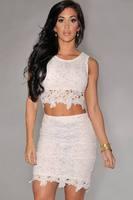Roupas femininas White Graceful Sexy Two-piece Lace  new glamour summer dress vestidos de festa vestido longo WFD006