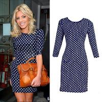 New Fashion Women Dot Dresses Free Shipping Lady Dresses Knee-Length Sheath Elastic O-neck Size S-XXL ZFC803