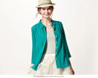 8 Colors available, High quanlity women summer soft chiffon cotton three quarter sleeve shirt blouses ,BL-668