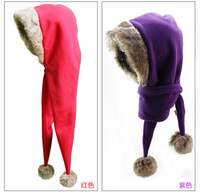 Wholesale winter sports woolen hat with muffler and rabbit fur for adult and children worm fleece with fur ball hat and scarf