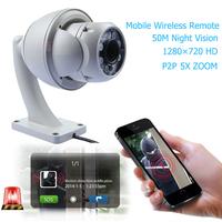 Wireless WiFi IP Camera 1MP PTZ 720P HD IR Cut Night Vision Waterproof Outdoor Security IP Camera 5x Zoom P2P Waterproof