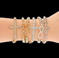 OMH wholesale gold silver jewelry alloy cross women's bracelet SZ07